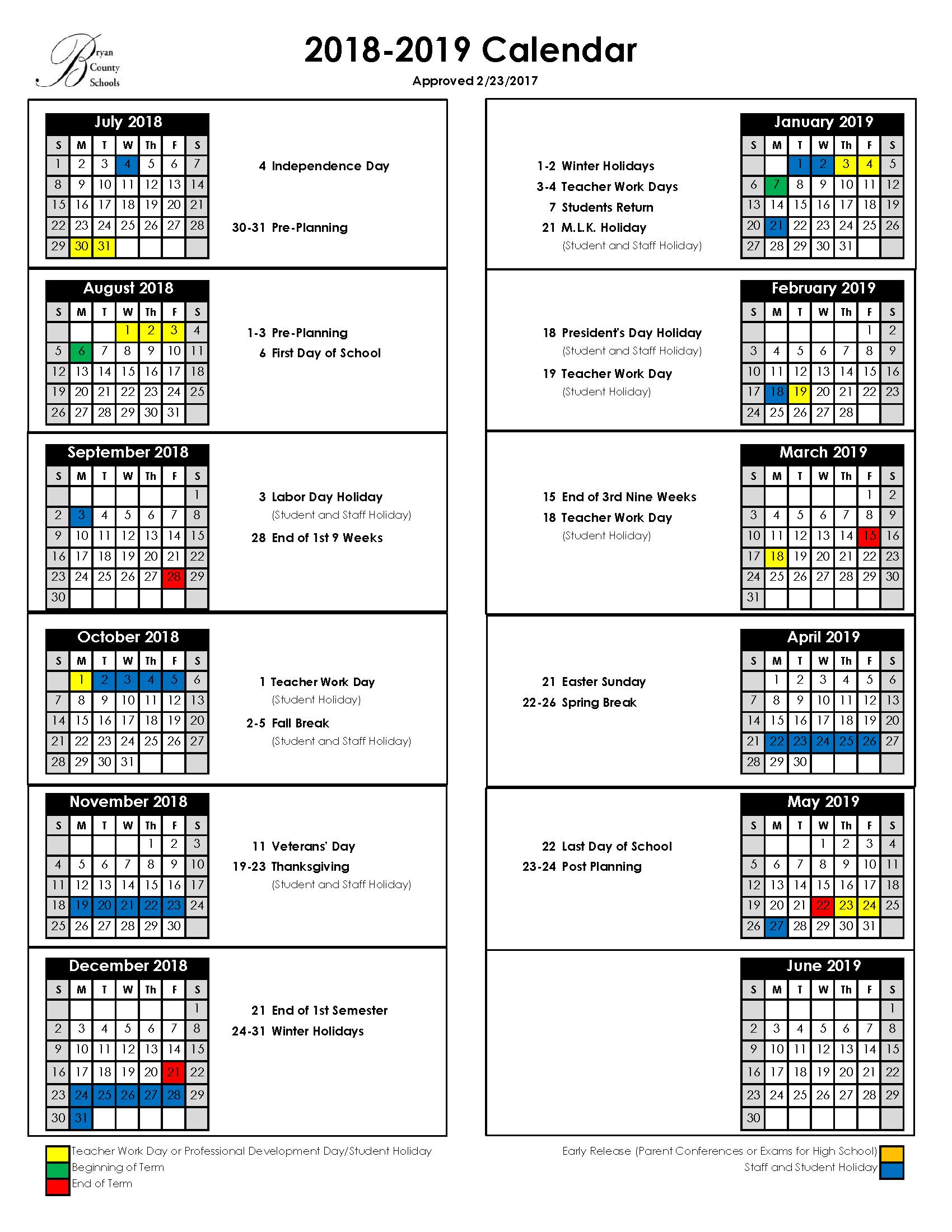 Richmond School Calendar 2019 Bryan County Schools