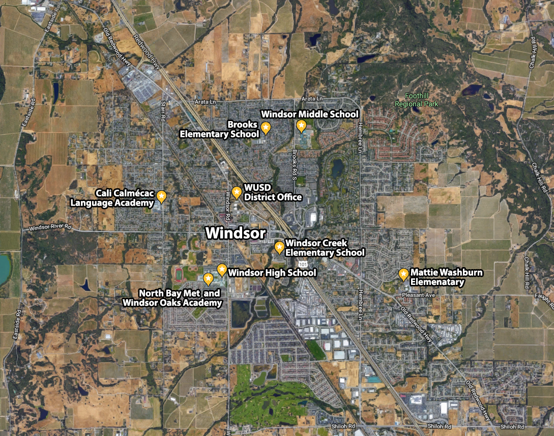 Windsor Unified School District Overview Map