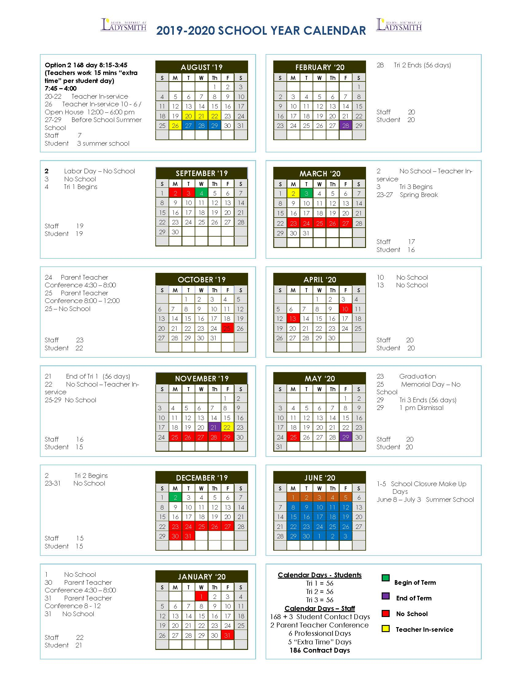 Ladysmith School District Calendar 2019 and 2020